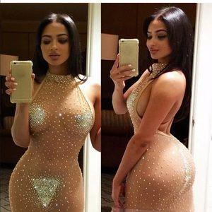 🚫SOLD🚫 Sheer Mesh Rhinestone Halter Mini Dress